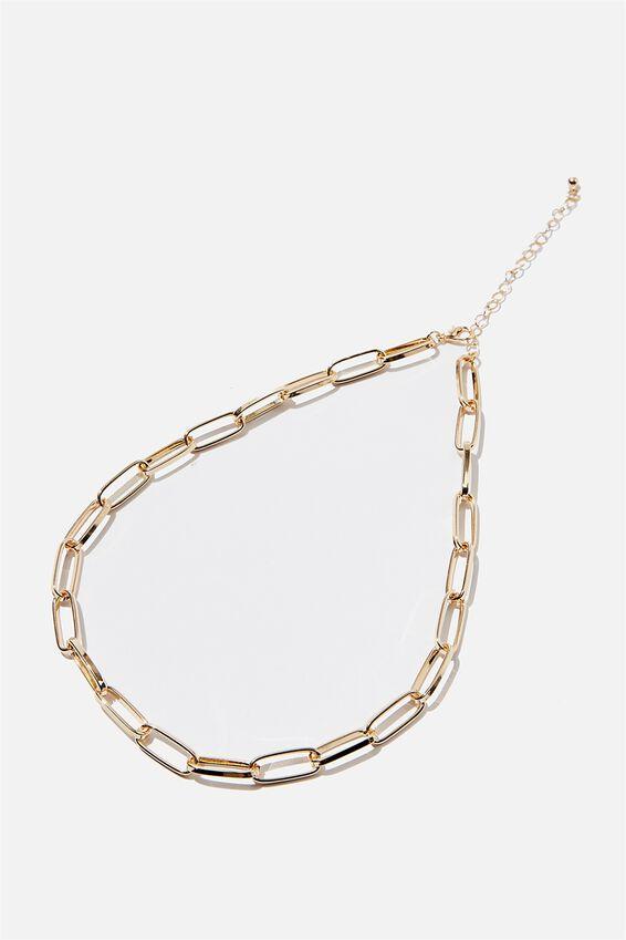 Treasures Single Chain Necklace, GOLD LARGE OPEN LINK CHAIN