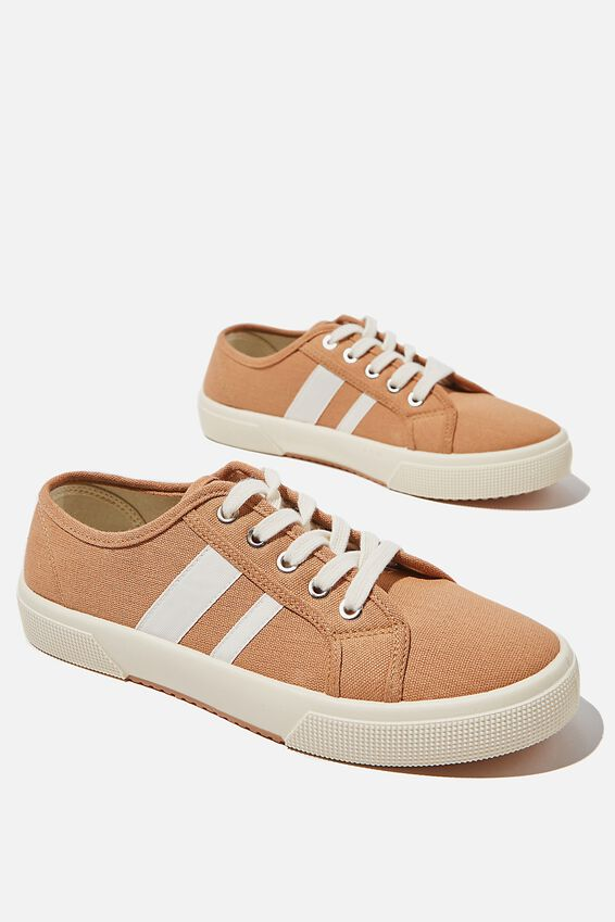 Lisa Lace Up Plimsoll, TAN ECRU STRIPE