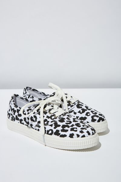 Casey Creeper Plimsoll, WHITE/BLACK LEOPARD