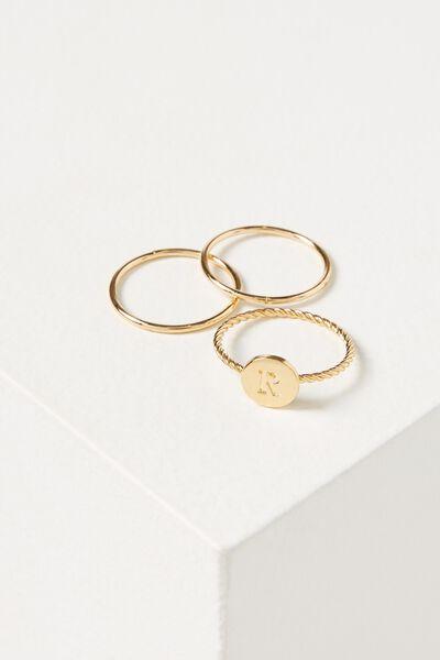 Letter Pendant Ring, GOLD - R