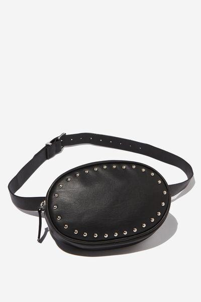 Brodie Belt Bag, BLACK W SILVER STUDS