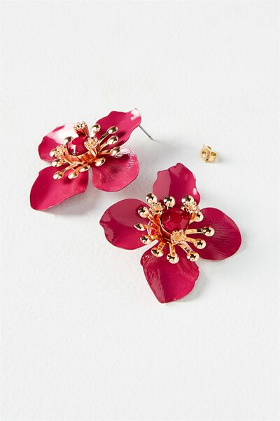Flower Statement Earring, VIVACIOUS/ROSE GOLD