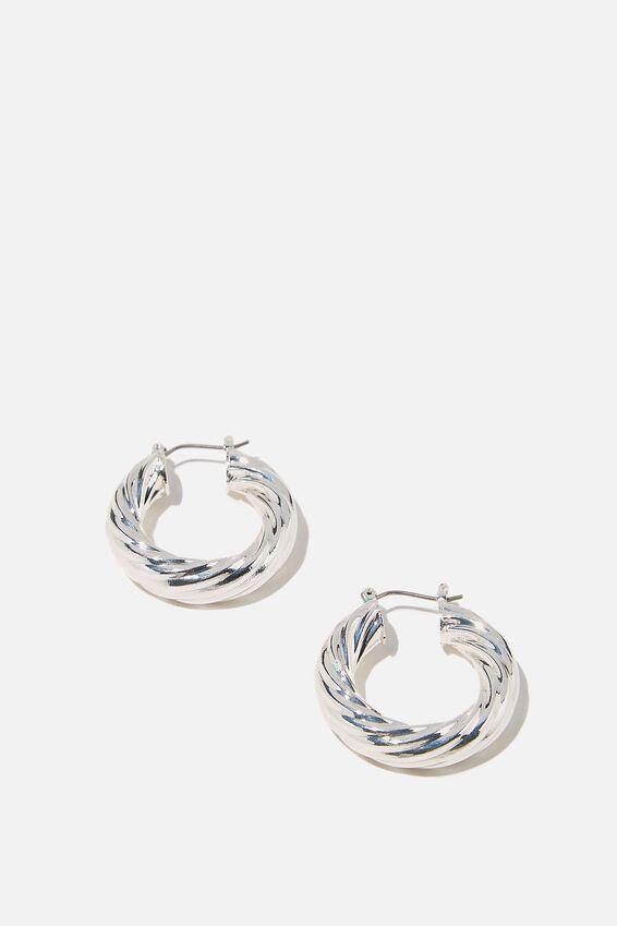 Luxe Layers Hoop, SILVER TWIST