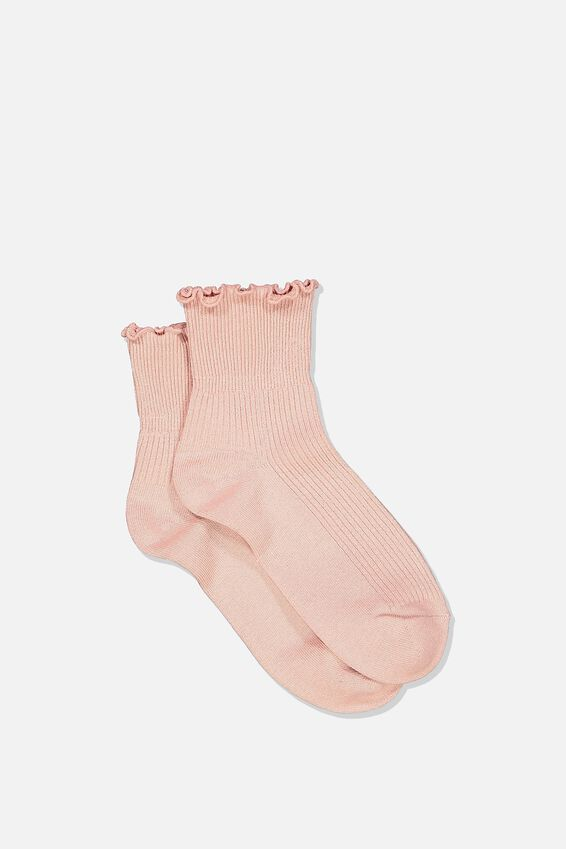 Frill Ribbed Quarter Crew Sock, MISTY ROSE