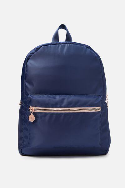 Traveller Backpack, DARK BLUE W/ROSE GOLD