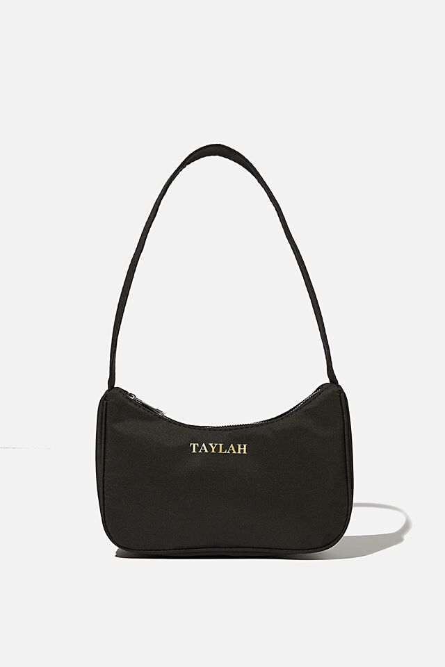 Personalised Nadia Underarm Bag, BLACK