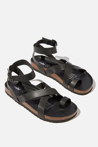 Rex Gladiator Strappy Sandal, BLACK PU