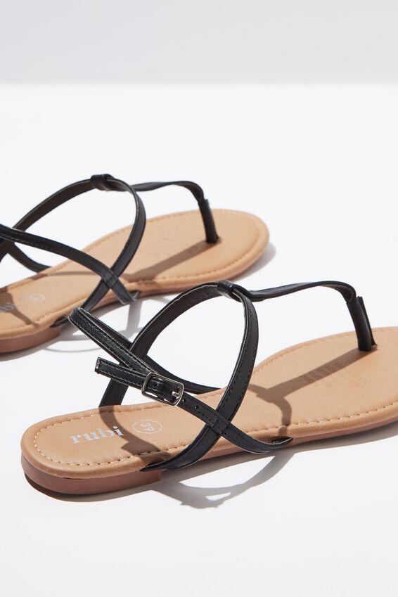 Everyday Toe Post Sandal, BLACK PU
