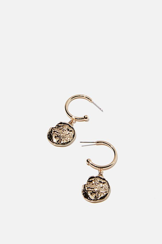 Molten Disc P And Gold Hoop Earring, GOLD