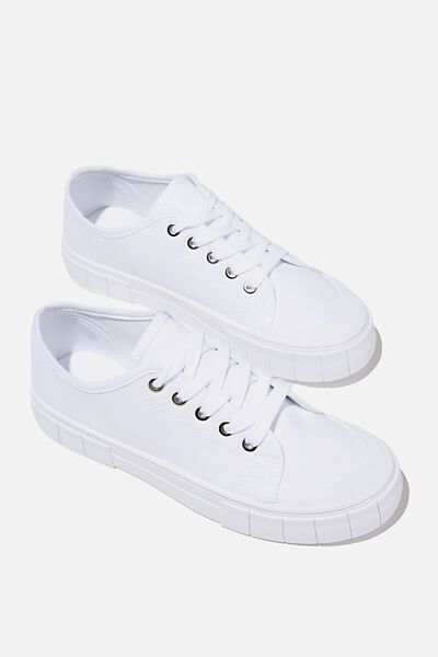 Peggy Lace Up Plimsoll, WHITE