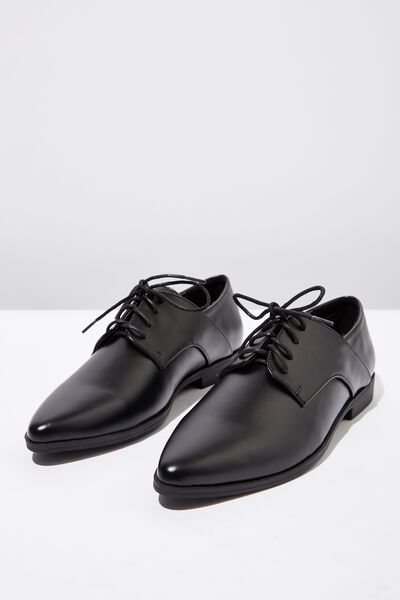 Ambrose Point Toe Brogue, BLACK PU
