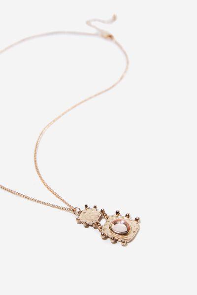 Aruba Boho Necklace, GOLD/PINK