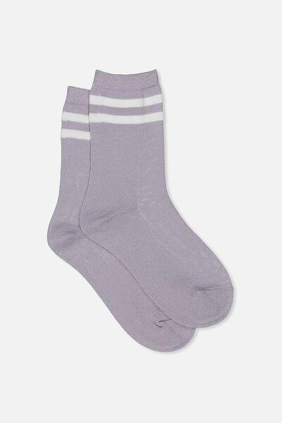 Sporty Sparkle Stripe Sock, PALE LILAC SPARKLE/WHITE STRIPE