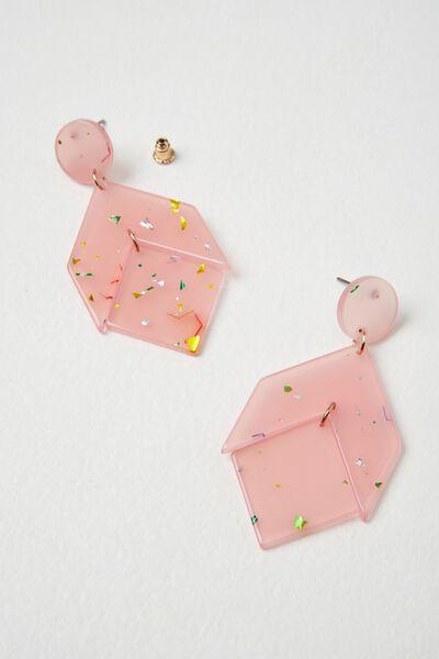 Peru Earring, PINK CONFETTI
