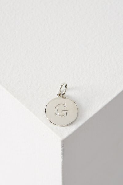 Letter Flat Pendant Charm, SILVER - G