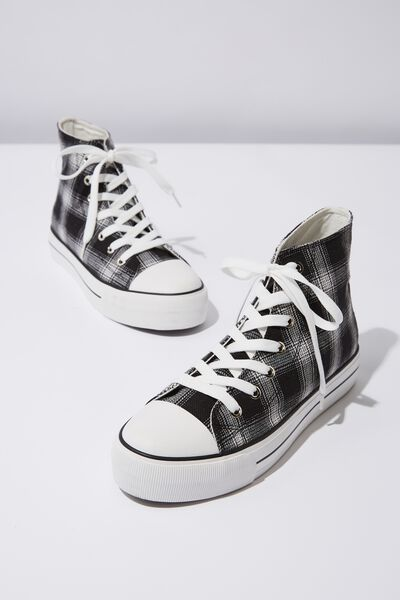 Platform Jemma High Top Sneaker, BLACK AND WHITE CHECK
