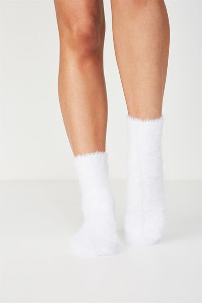 Fluffy Bed Sock, OFF WHITE
