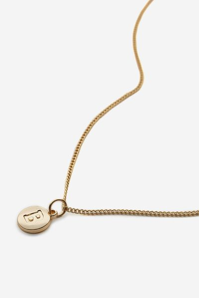 Letter Charm Necklace, GOLD B