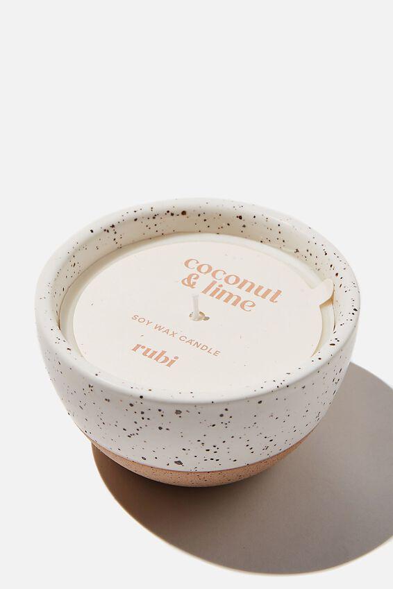 Stoneware Candle, WHITE