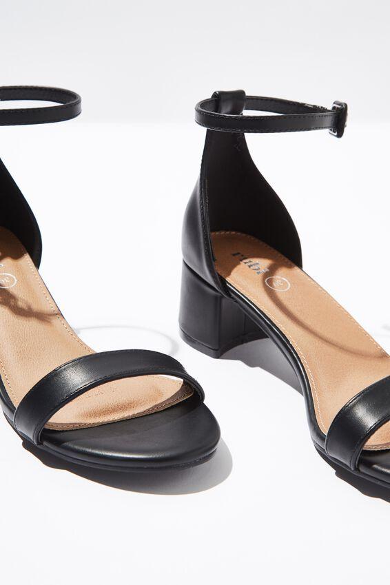 Lizzie Low Block Heel, BLACK SMOOTH