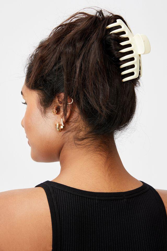 Rachel Hair Claw, ECRU WHITE