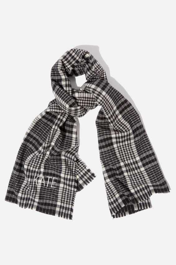 Personalised Lexi Mid Weight Scarf, BLACK NYLA CHECK