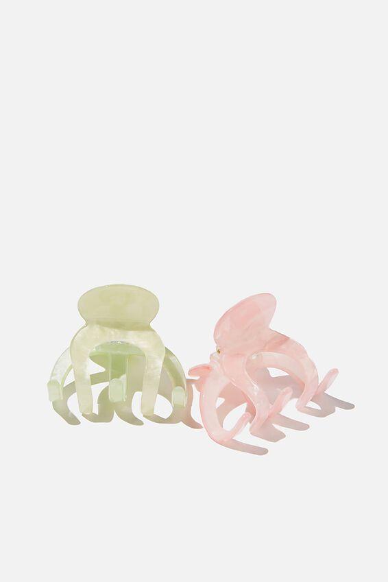 2Pk Messy Bun Claw, LIME/STRAWBERRY SORBET SWIRL