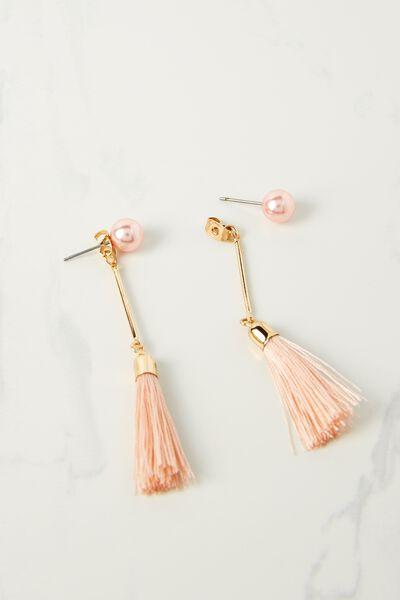 Pearl Single Tassel Earring, PINK