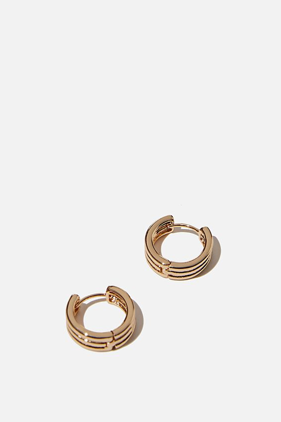 Ear Party Huggie Hoops, GOLD RIDGED