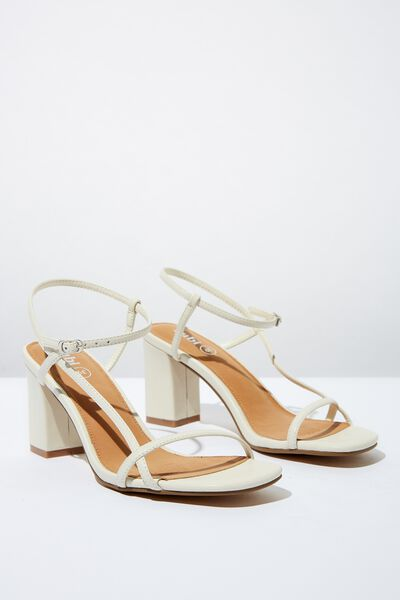 Hannah Thin Strap Heel, STONE SMOOTH PU
