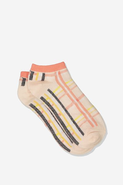 Get Shorty Ankle Sock, MULTI LILY CHECK
