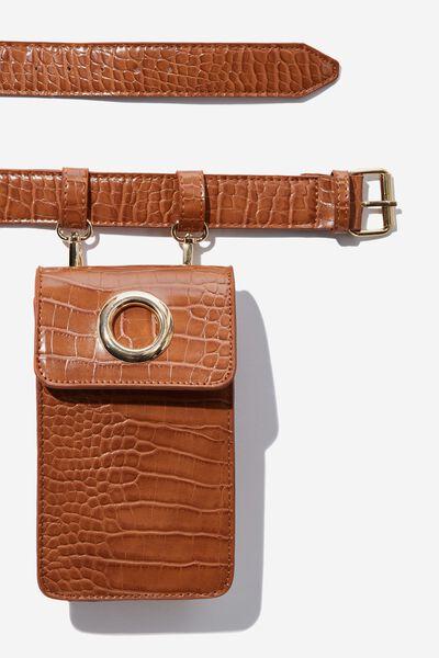 Luxe Croc Belt Bag, TAN