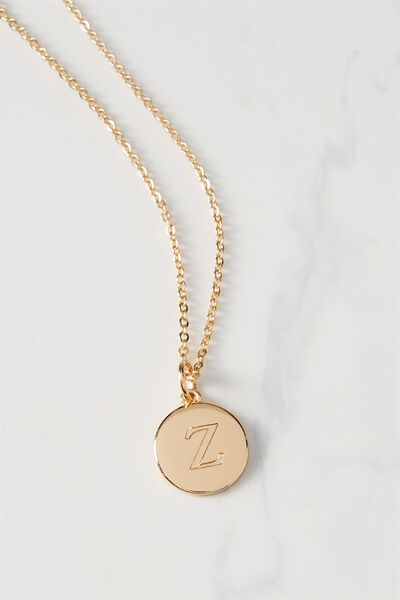 Letter Flat Pendant Necklace, GOLD - Z