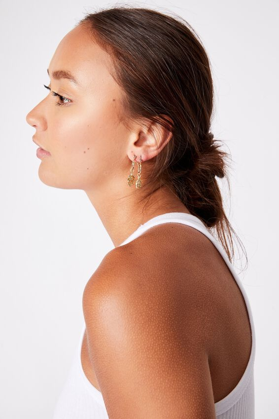 3Pk Luxe Layers Hoops, GOLD SUN MEDALLION