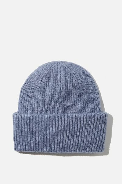 Racquel Ribbed Beanie, AIR BLUE