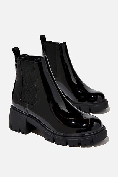 Kaia Combat Gusset Boot, BLACK PATENT