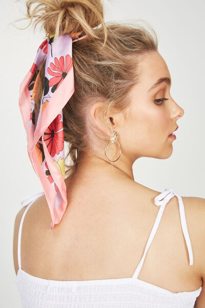Soho Satin Scarf, PINK DOLLY FLORAL