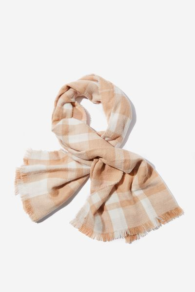 Danielle Double Layer Scarf, CAMEL CHECK