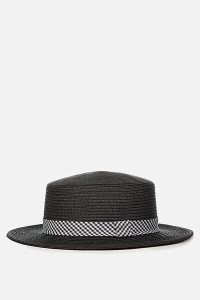 Oxford Boater Hat, BLACK/BLACK GINGHAM