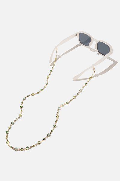 Ava Glasses Chain, GREEN GEMS