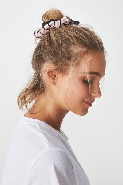 2Pk Scrunchie, BLUSH/BLACK SPARKLE STRIPE