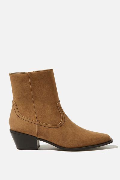 Marlie Minimal Western Boot, TAN SUEDE PU