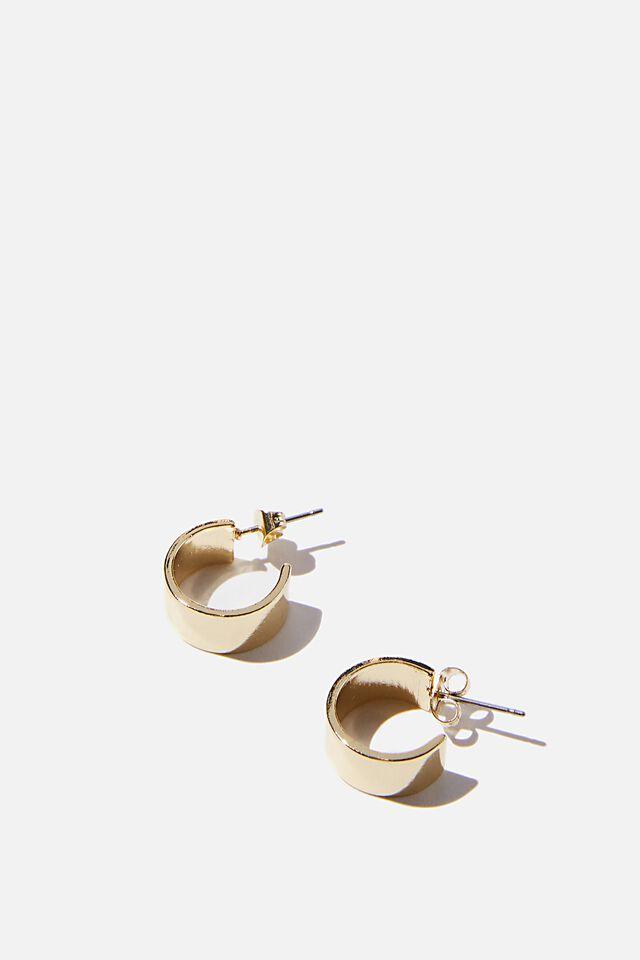 Premium Everyday Hoop, GOLD PLATED WIDE FLAT EDGE