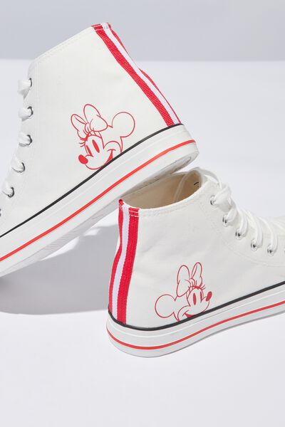Mickey High Top Sneaker, WHITE MINNIE LCN
