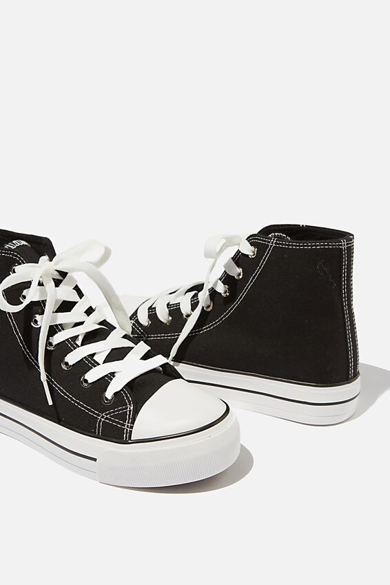 Platform Jemma High Top Sneaker, BLACK CANVAS