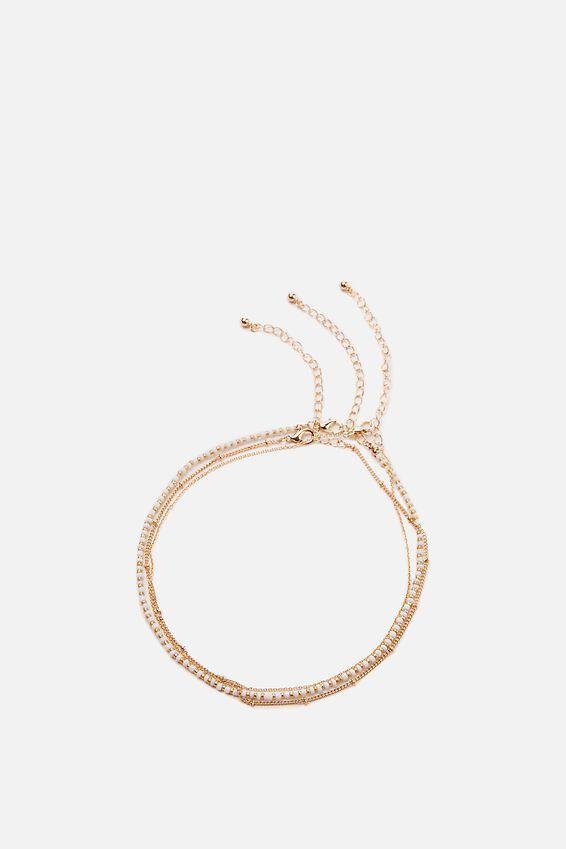 Holiday Beaded 3Pk Necklace Set, WHITE