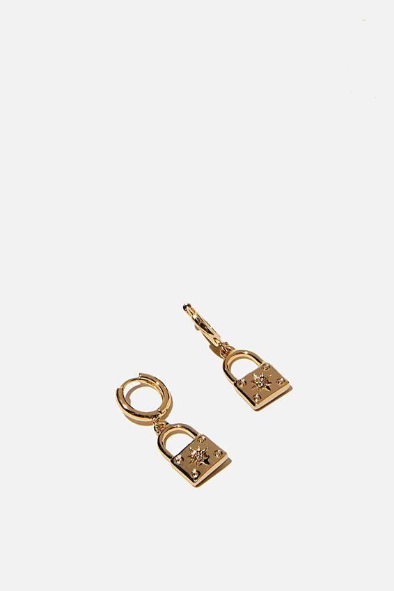 Premium Huggie Hoop, GOLD PLATED PADLOCK