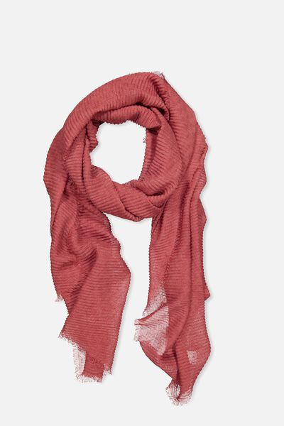 Penny Pleated Midweight Scarf, ROSE WOOD PLEAT