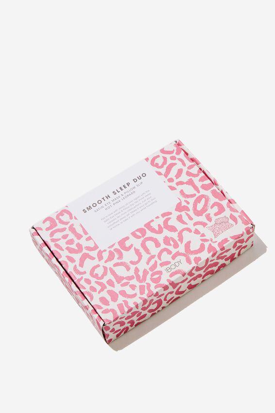 Personalised Satin Eyemask & Pillow Slip Set, HOT PINK LEOPARD