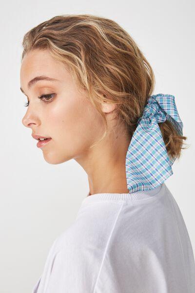 Maddison Scarf Scrunchie, BRIGHT BLUE MINI CHECK